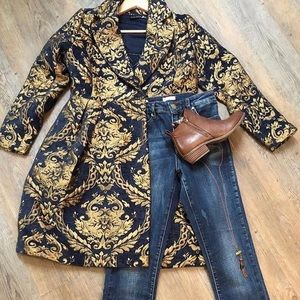 Jacquard Jacket ~ quilted tapestry Gold and Blue